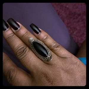 Black onyx cocktail ring, sterling silver